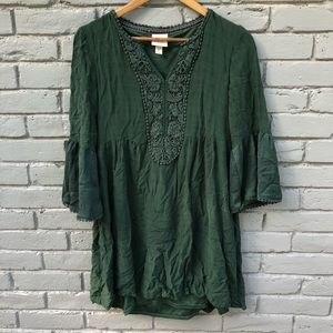 Knox Rose Boho Bell Sleeved Emerald Green Tunic M